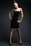 Modelo elegante no vestido preto Imagens de Stock