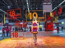 Modelo em um suporte da exposição no Photokina 2014 Imagem de Stock Royalty Free