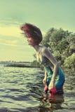 Modelo en agua Fotos de archivo