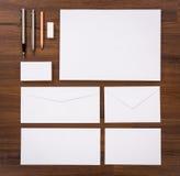 Modelo en blanco Consista en las tarjetas de visita, papel con membrete a4, pluma, e Fotos de archivo
