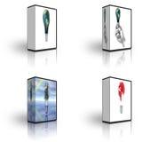 Modelo en blanco del rectángulo del CD DVD aislado en blanco Imagenes de archivo