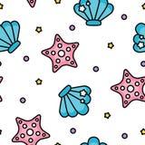 Modelo en colores pastel lindo del mar de la cáscara y de las estrellas de mar en el fondo blanco libre illustration