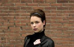 Modelo en la chaqueta de cuero Fotos de archivo