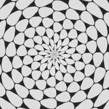 Modelo encrespado blanco y negro regular alineado radialmente Línea de semitono ejemplo del anillo Fondo abstracto del fractal libre illustration
