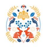 Modelo escandinavo del arte popular con los pájaros, los perros, la casa minúscula y las flores Pascua feliz ilustración del vector