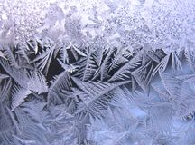 Modelo escarchado en ventana del invierno Fotos de archivo libres de regalías