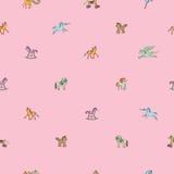 Modelo escaso rosado con los caballos del juguete Foto de archivo