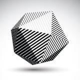 Modelo esférico abstracto del contraste del vector 3D, orbe del arte rayado, ilustración del vector