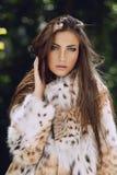 Modelo europeu bonito no casaco de pele luxuoso do lince Fotografia de Stock