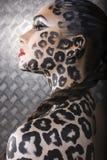 Modelo europeu novo bonito na composição e no bodyart do gato Fotografia de Stock