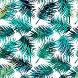 Modelo exótico inconsútil con las hojas de palma tropicales stock de ilustración