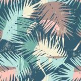 Modelo exótico inconsútil con las plantas tropicales y el fondo artístico stock de ilustración