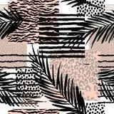 Modelo exótico inconsútil de moda con la palma ilustración del vector