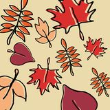 Modelo exhausto del otoño de la mano linda inconsútil con el dibujo estacional colorido de las hojas ilustración del vector