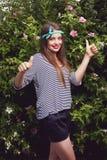 Modelo fêmea adolescente na moda Fotografia de Stock