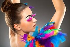 Modelo fêmea novo bonito com composição corajosa Imagens de Stock Royalty Free