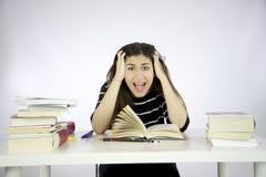 Modelo fêmea que estuda shouting Imagem de Stock