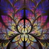 Modelo fabuloso del fractal en púrpura, azul y amarillo stock de ilustración