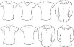 Modelo femenino de las camisas ilustración del vector