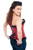 Modelo femenino de moda coqueto en top y vaqueros del corsé Fotos de archivo libres de regalías