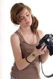 Modelo femenino del preadolescente atractivo con la guitarra Foto de archivo