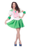 Modelo femenino en el traje cosplay aislado en blanco Imagen de archivo libre de regalías