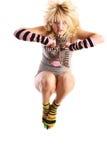 Modelo femenino en salto. Fotos de archivo libres de regalías