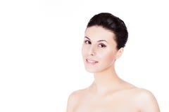 modelo femenino hermoso en el fondo blanco Fotos de archivo