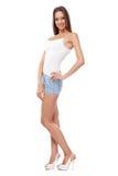 Modelo femenino hermoso joven en el fondo blanco Imagenes de archivo