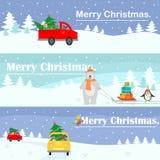 Modelo fijado banderas de la Navidad Lugar para el texto Vector el ejemplo con un paisaje del hada-cuento, un coche que lleva un  ilustración del vector