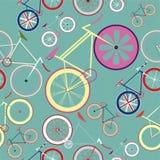 Modelo fijo de la bici del engranaje del fondo azul inconsútil Imagen de archivo libre de regalías