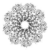 Modelo floral abstracto del fondo del garabato Un ornamento circular stock de ilustración