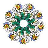 Modelo floral abstracto del fondo del garabato Un ornamento circular Imagen de archivo
