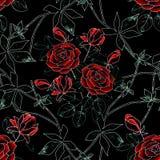 Modelo floral abstracto inconsútil Rosas rojas en negro stock de ilustración