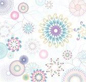 Modelo floral con las flores y los círculos coloridos Imagenes de archivo
