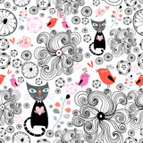 Modelo floral con los gatos negros y los pájaros Imagen de archivo