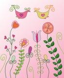 Modelo floral con los pájaros libre illustration