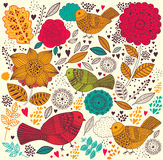 Modelo floral con los pájaros Fotos de archivo libres de regalías