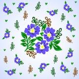 Modelo floral de la textura del vector con las flores azules Modelo de flores azul Imágenes de archivo libres de regalías