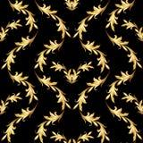 Modelo floral de oro en negro ilustración del vector