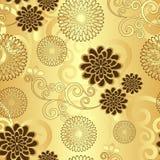 Modelo floral de oro inconsútil Imagen de archivo