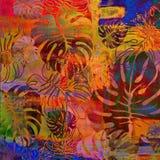 Modelo floral del fondo del grunge del arte Foto de archivo