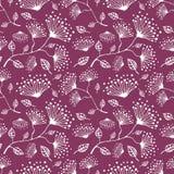 Modelo floral del vector inconsútil Dé el fondo rosado exhausto con flovers y hojas Foto de archivo