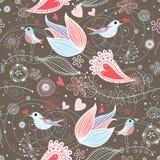 Modelo floral del verano con los pájaros Fotos de archivo libres de regalías