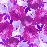 Modelo floral inconsútil con las rosas Imagen de archivo libre de regalías