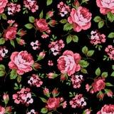 Modelo floral inconsútil con las rosas rojas Foto de archivo