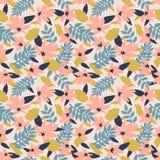Modelo floral inconsútil Modelo de la materia textil de la moda con las hojas, las flores y las ramas decorativas en rosa Vector stock de ilustración