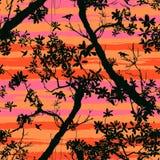 Modelo floral inconsútil del vector con los árboles Imagen de archivo