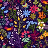 Modelo floral inconsútil del vector Flores coloridas del witn del papel pintado, animal, pájaros Ejemplo exhausto del vector de l ilustración del vector