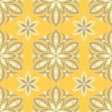 Modelo floral inconsútil Fondo amarillo brillante con diseños florales Fotos de archivo